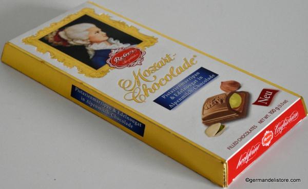 Reber Mozart Alpine Milk Chocolate with Pistachio & Marzipan