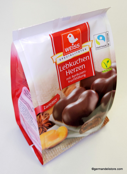 Weiss Apricot Filled Gingerbread Hearts Dark Chocolate