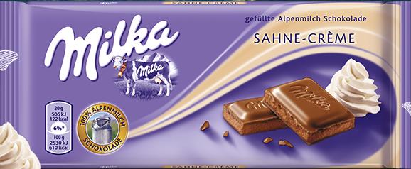 Milka Sahne Crème - Cream Milk Chocolate Bar   GermanDeliStore.com